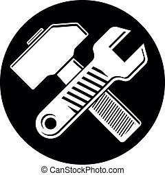詳しい, 網, 使用, tools., 木槌, 道具, 産業, 仕事, 広告, イラスト, シンボル, 置かれた, ...