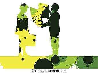 詳しい, 色, 労働者, サイト, イラスト, ペンキ, シルエット, 建設, はねる, 背景, モザイク, エンジニア