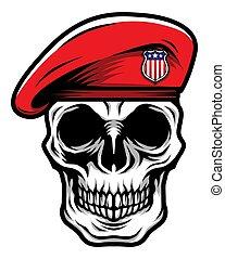 詳しい, 身に着けていること, 頭, 頭骨, 軍隊, クラシック, ベレー帽, イラスト, 軍, 赤