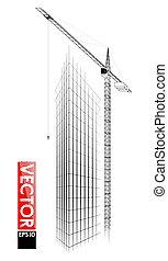 。, 詳しい, 追跡された, 建物, 非常に, 高層, サイト。, mechanism., 高く, 建設, タワー, 荷を積む, クレーン, 持ち上がること, 建物。