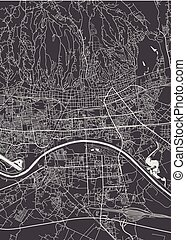 詳しい, 都市, ザグレブ, 地図, ベクトル, 計画