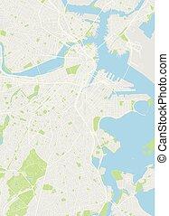 詳しい, 都市, ボストン, 地図, 色, イラスト, ベクトル, 計画