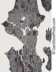 詳しい, 都市 地図, イラスト, シアトル, ベクトル, モノクローム, 計画