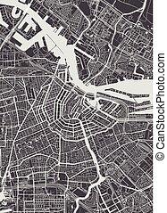 詳しい, 都市 地図, イラスト, ベクトル, アムステルダム, モノクローム, 計画