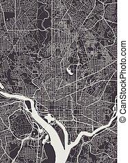 詳しい, 都市 地図, イラスト, ベクトル, ワシントン, モノクローム, 計画