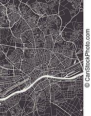 詳しい, 都市 地図, ベクトル, 計画, 本, frankfurt