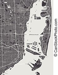 詳しい, 都市 地図, マイアミ, イラスト, ベクトル, モノクローム, 計画