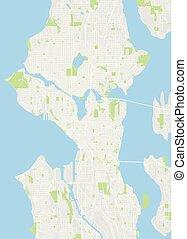 詳しい, 都市 地図, 色, イラスト, シアトル, ベクトル, 計画