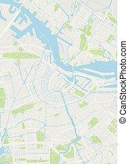 詳しい, 都市 地図, 色, イラスト, ベクトル, アムステルダム, 計画