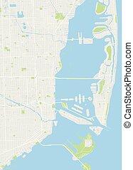 詳しい, 都市 地図, 色, マイアミ, イラスト, ベクトル, 計画