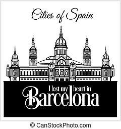 詳しい, 都市, illustration., architecture., -, バルセロナ, ベクトル, 最新流行である, spain.