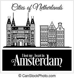 詳しい, 都市, illustration., architecture., -, ベクトル, 最新流行である, アムステルダム, netherlands.