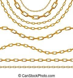 詳しい, 金, 鎖, set., 現実的, ベクトル, 3d