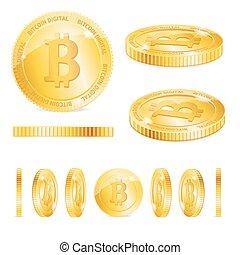 詳しい, 金, bitcoins, set., 現実的, ベクトル, 3d