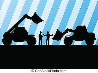 詳しい, 鉱山, 掘削機, サイト, イラスト, トラクター, シルエット, ベクトル, 背景, 建設