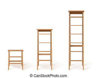 詳しい, 階段。, イラスト, 現実的, 3d, ベクトル, 木製である