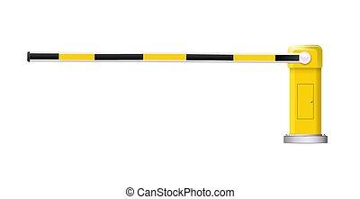 詳しい, 障壁, 自動車, 印。, 止まれ, イラスト, ベクトル, 黒, 黄色, しまのある