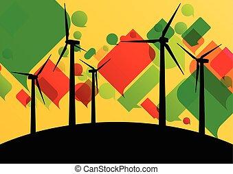 詳しい, 風車, エコロジー, カラフルである, 電気, イラスト, シルエット, ジェネレーター, コレクション, 背景, 風