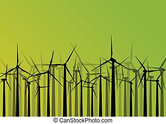詳しい, 風車, エコロジー, カラフルである, 電気, イラスト, シルエット, ベクトル, ジェネレーター, コレクション, 背景, 風