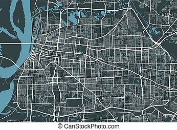 詳しい, panorama., 都市, 線である, 地図, 都市の景観, メンフィス, 印刷, map.