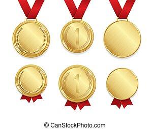 詳しい, set., 現実的, 金, メダル, ベクトル, 3d