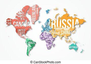 詳細, 世界, 矢量, 地圖