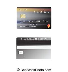 詳細, 信用卡, 被隔离, 在懷特上, 背景, 矢量, 插圖