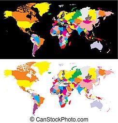 詳細, 地図, ベクトル, 世界