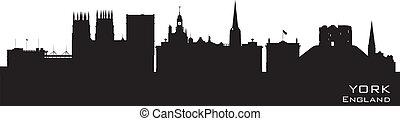 詳細, 城市, england, 地平線, 矢量, 約克, 黑色半面畫像