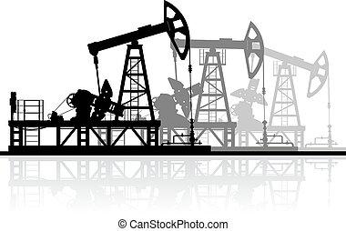 詳細, 油, 黑色半面畫像, illustration., 被隔离, 背景。, 矢量, 泵, 白色