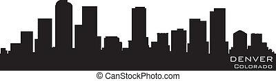 詳細, 矢量, 黑色半面畫像, colorado, 丹佛, skyline.