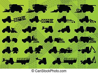 詳細, 結合, 工業, 卡車, 收割機, 拖拉机, 插圖, 設備, 黑色半面畫像, 矢量, 打洞机, 彙整, 背景,...