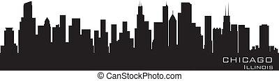 詳細, 芝加哥, 伊利諾伊, 矢量, skyline., 黑色半面畫像