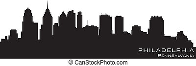 詳細, 費城, 黑色半面畫像, 賓夕法尼亞, 矢量, skyline.