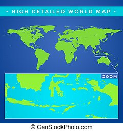 詳細, 高, 矢量, 世界地圖
