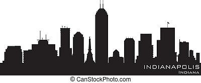 詳細, 黑色半面畫像, 印第安納波利斯, 矢量, skyline., 印地安納