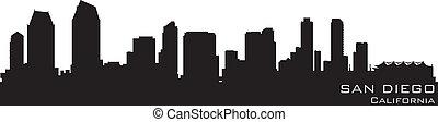詳細, 黑色半面畫像, 圣地亞哥, 矢量, 加利福尼亞, skyline.