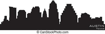 詳細, 黑色半面畫像, 奧斯汀, 矢量, skyline., 得克薩斯
