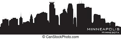 詳細, 黑色半面畫像, 明尼蘇達, minneapolis, 矢量, skyline.