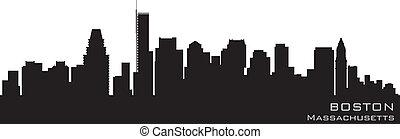 詳細, 黑色半面畫像, 波士頓, 矢量, 馬薩諸塞, skyline.
