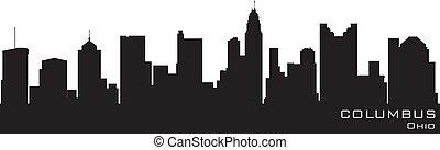 詳細, 黑色半面畫像, 矢量, 俄亥俄, skyline., 哥倫布