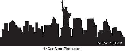 詳細, 黑色半面畫像, 矢量, 約克, 新, skyline.