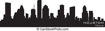 詳細, 黑色半面畫像, 矢量, houston, skyline., 得克薩斯