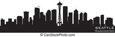 詳細, 黑色半面畫像, 華盛頓, seattle, 矢量, skyline.