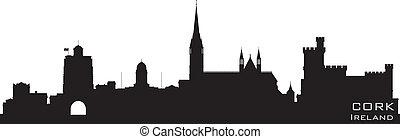 詳細, 黑色半面畫像, 軟木塞, 矢量, 愛爾蘭, skyline.