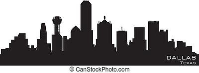 詳細, 黑色半面畫像, 達拉斯, 矢量, skyline., 得克薩斯