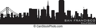 詳細, 黑色半面畫像, san, 矢量, 加利福尼亞, francisco, skyline.