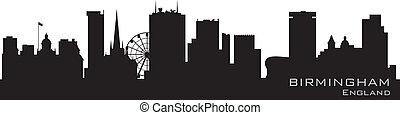 詳細, england, 矢量, skyline., 黑色半面畫像, 伯明翰