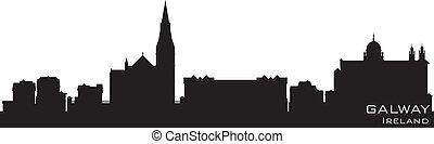 詳細, galway, 矢量, 愛爾蘭, skyline., 黑色半面畫像