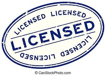 認可された, 背景, 単語, 切手, 青, 白, グランジ, オバール, シール, ゴム
